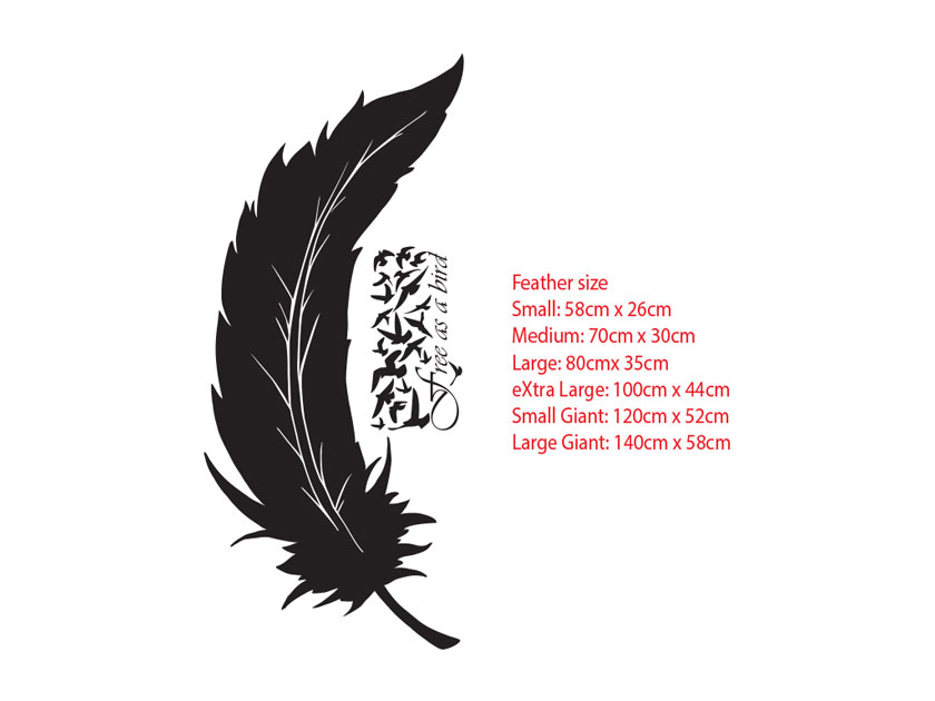Feather Free as a bird Wall Art Tattoo Decal Lettering Sticker