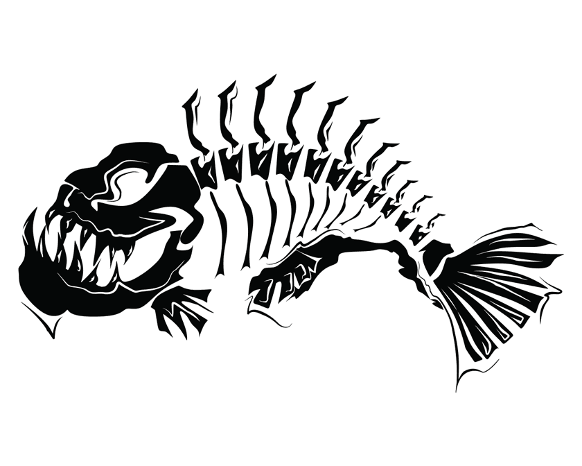 Fish Skeleton Modern Art Wall Tattoo Feature Wall Decal Vinyl Sticker Removable
