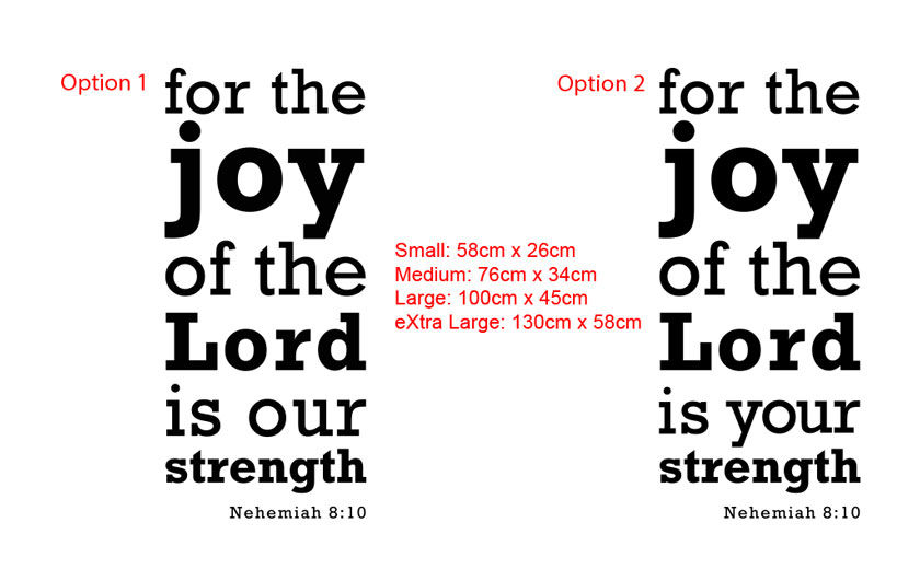 for the Joy of the Lord is our / your Strength Bible Quote Nehemiah8:10