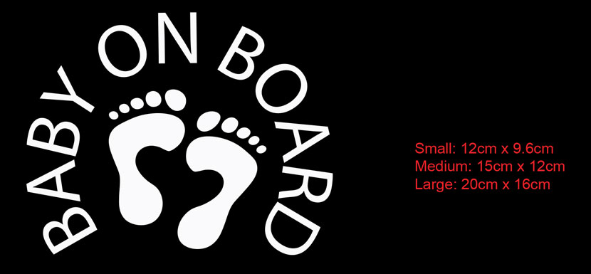 baby on board car decal sticker sign with feet print