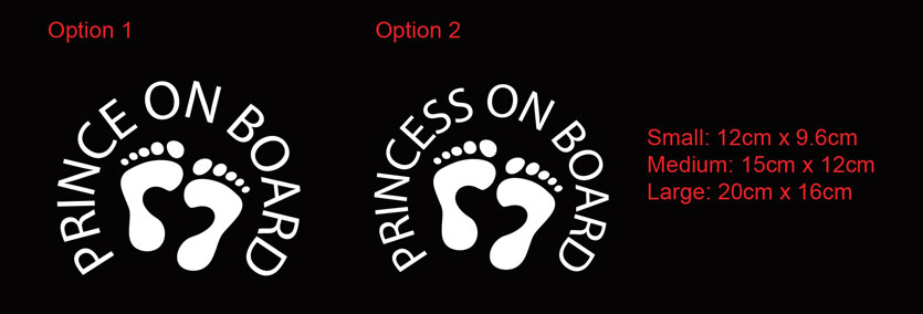 princess on on board, Prince on board car sign with feet print