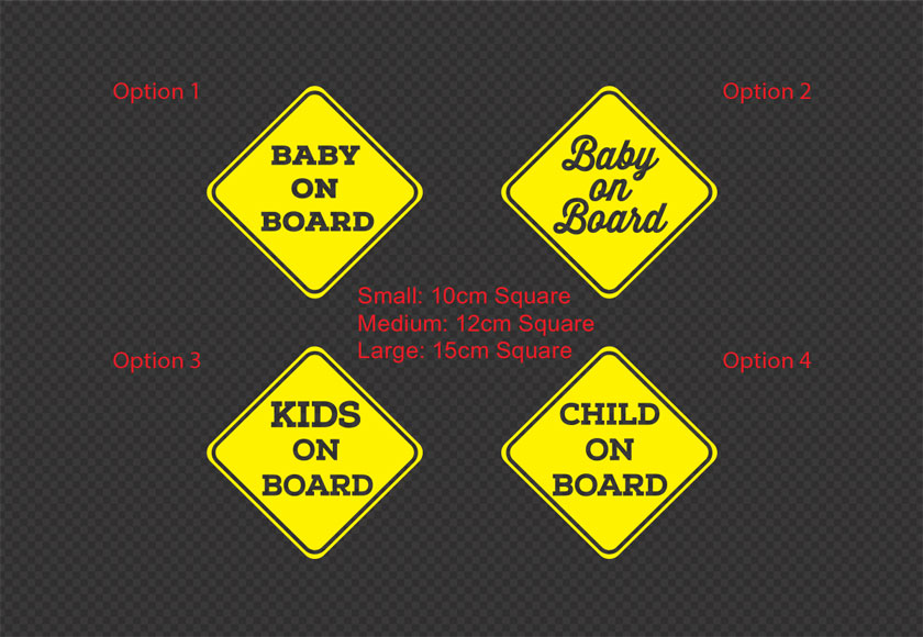 baby on board car sign with feet print