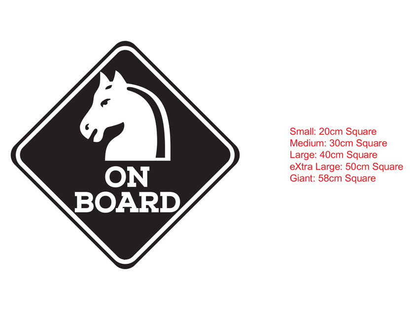 Horses on Board Caution Horse Safety Car Trailer Float Decal Sticker Sign
