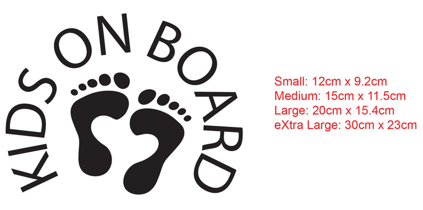 Kids on board car decal sticker sign with feet print
