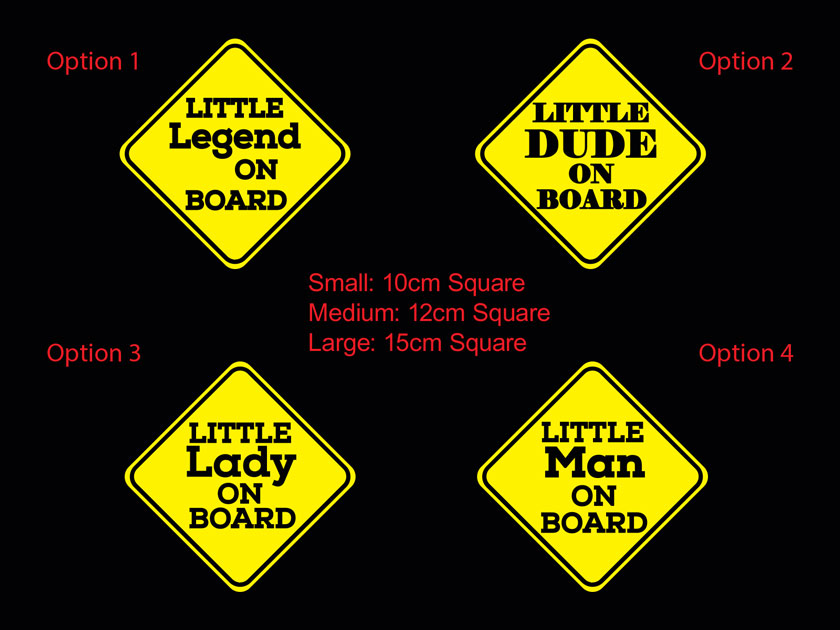 Little Legend Dude Lady Man on Board Baby Safety Sign Car Decal Vinyl Sticker