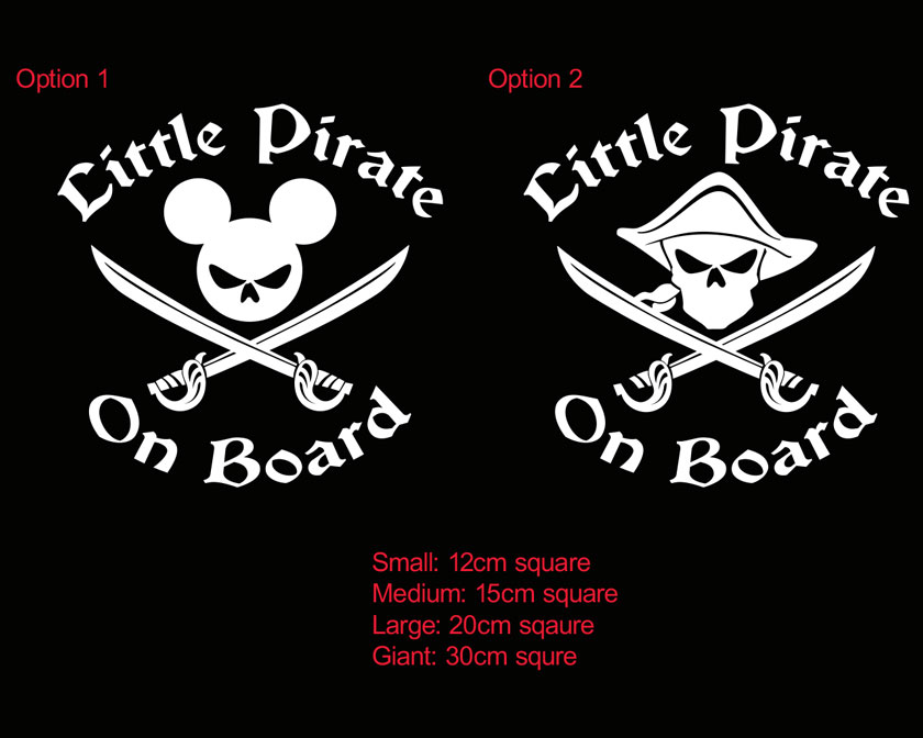 >Little Pirate Mickey Mouse Baby on Board Sticker Decal Sign