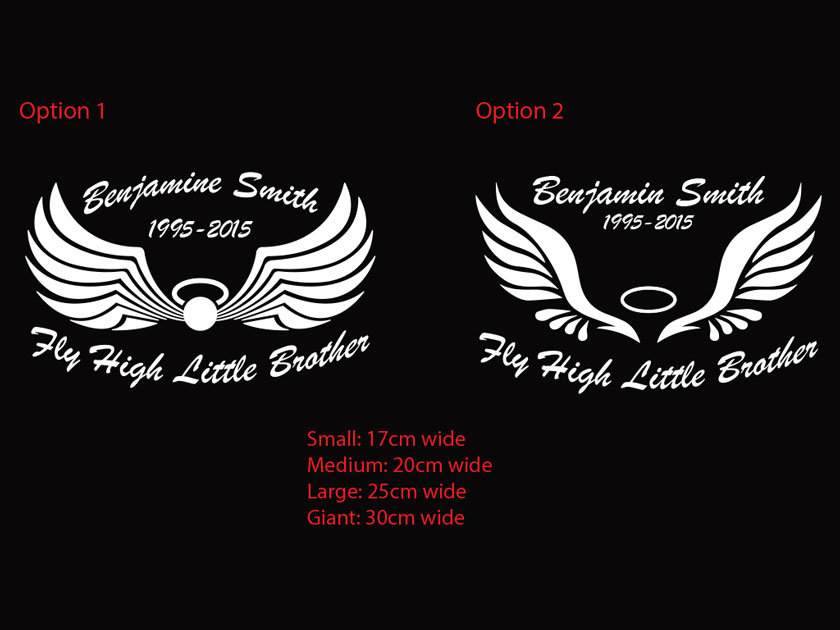 Fly HighCustom Memorial Car Sticker RIP Decal Wings OZDECO T - Car sign with wings