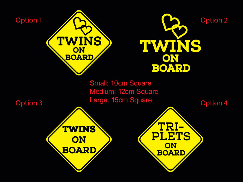 Square Twins Triplets on Board Baby Kids Safety Sign Car Decal Vinyl Sticker