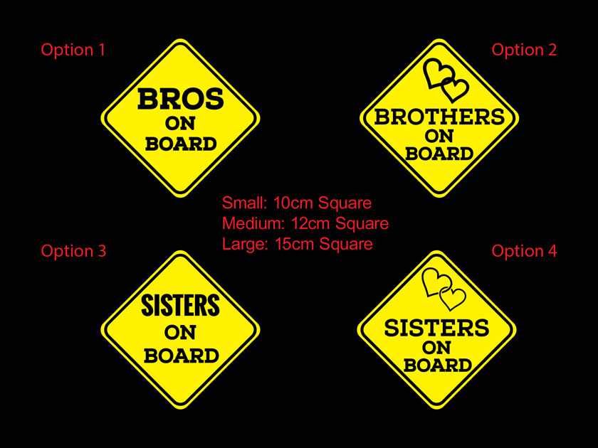 Brothers Sisterson Board Baby Kids Safety Sign Car Decal Vinyl Sticker