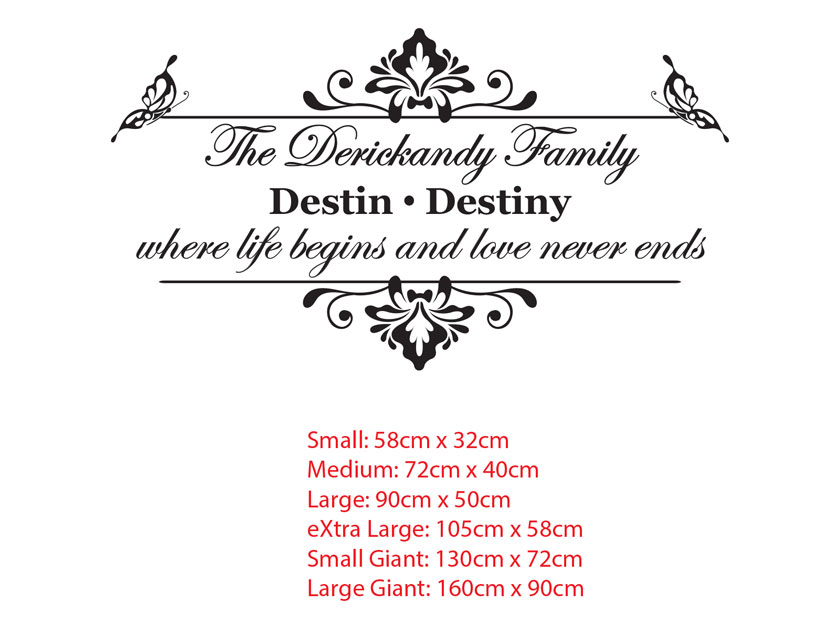 Custom Vintage Family Name with couple names Vinyl Decal Wedding Gift Removable