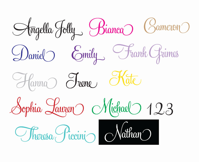 Swash Fancy Embellished Script Personalized vinyl wall decal