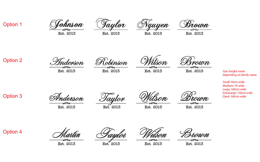 Vintage Script Family Name with Est. Year Custom Personalized Vinyl Decal Wedding Gift Removable