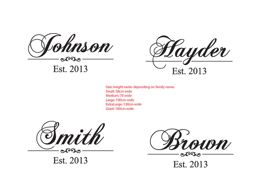 Vintage Family Name with Est. Year Custom Personalized Vinyl Decal Wedding Gift Removable