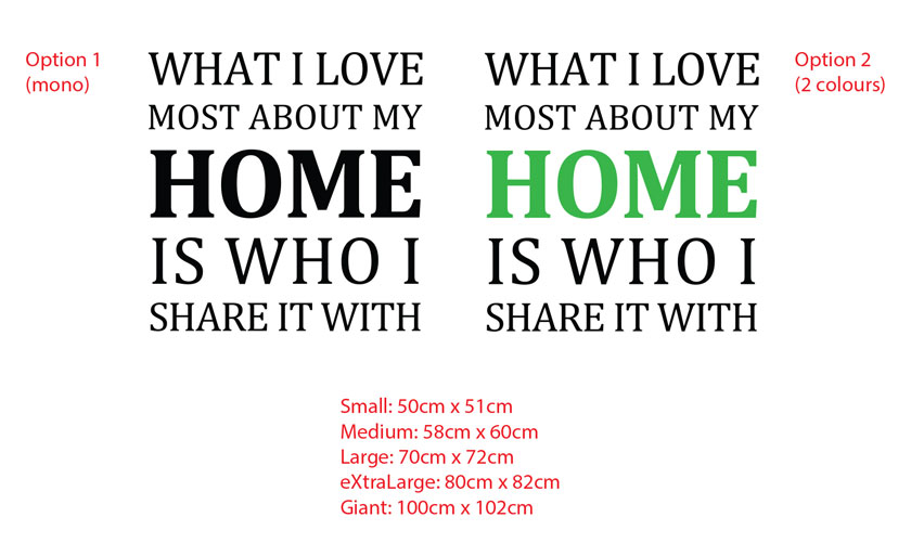 What I love most about my home is who I share it with.Wall Quote Lettering Decor Vinyl decal sticker