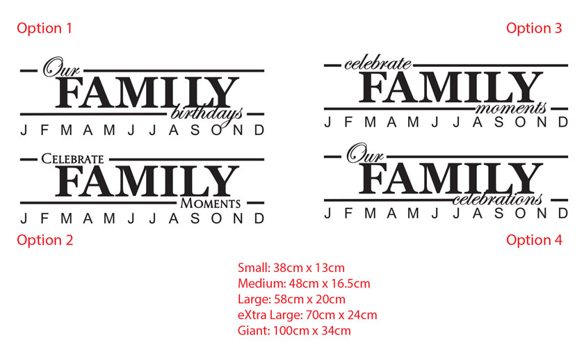 Celebrate Our Family Birthdays Anniversary / Moments Vinyl Decal Sign with Month
