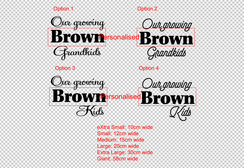 Personalised Our growing Family Name Grandkids, Kids Growth Chart Ruler Head Sticker Add-Onvinyl decal