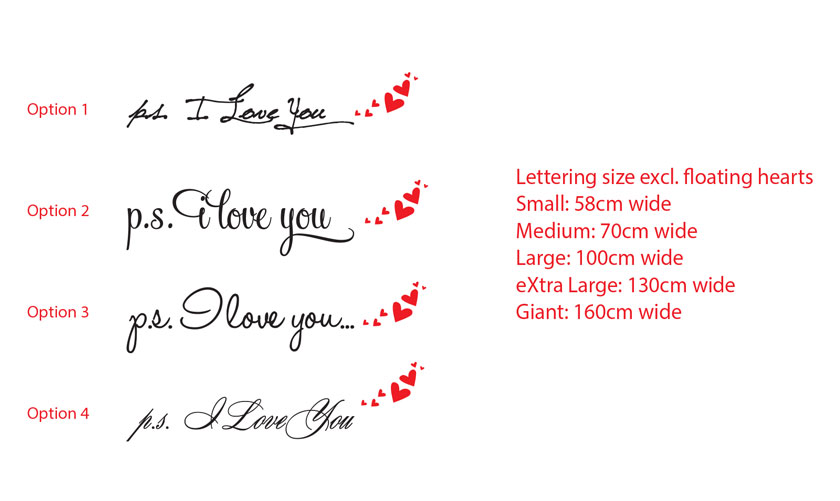 p.s. I Love You Bedroom Wall Quote Vinyl Decal Sticker Removable