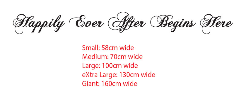 Happily Ever After Begins Here Wedding Sign Wall Board Vinyl Decal Sticker