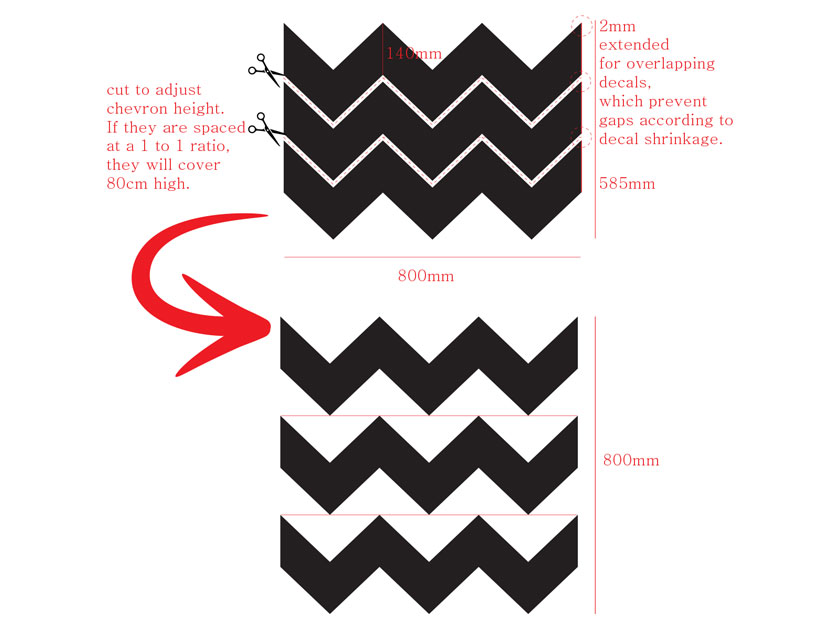 Chevron Seamless Pattern Wall Decal Zig Zag Wall Panel Sticker<br> Easy to install and remove Wallpaper alternative