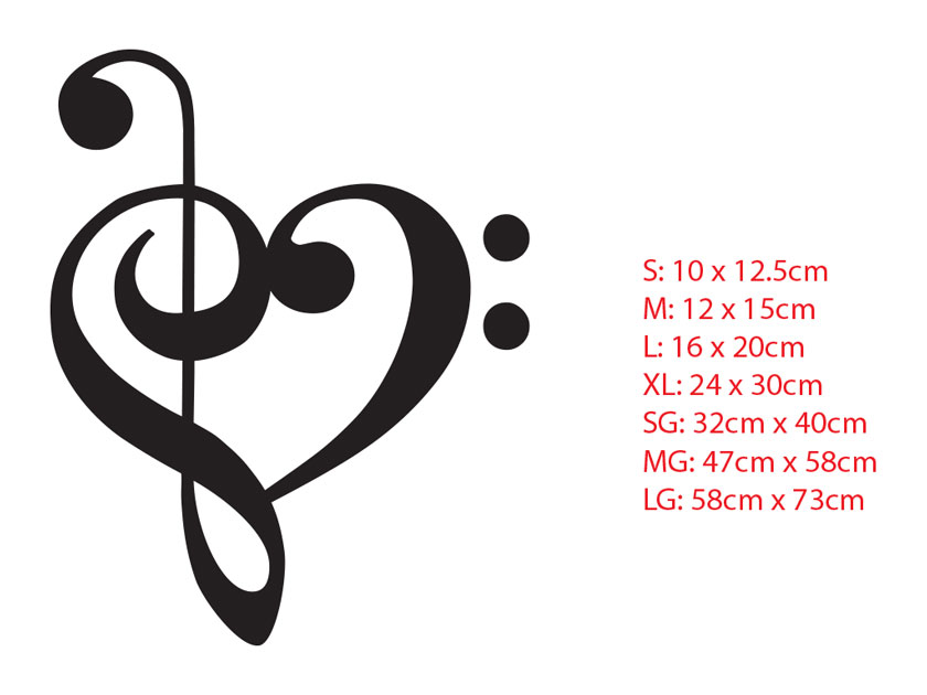 Music Heart Beat Love Treble Bass Clef Car Removable Wall Tattoo Sticker Decal
