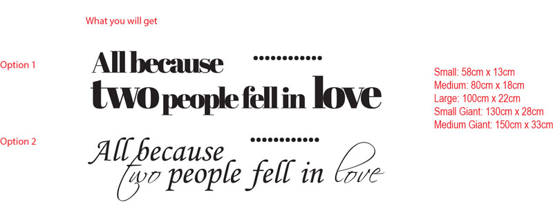 ...All because two people fell in love...wall art vinyl decal sticker