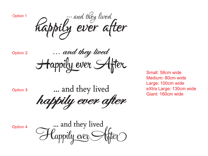 AND THEY LIVED HAPPILY EVER AFTER Wall Art Vinyl Decal Sticker
