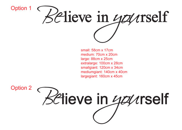 Believe in yourself inspiring wall decal sticker
