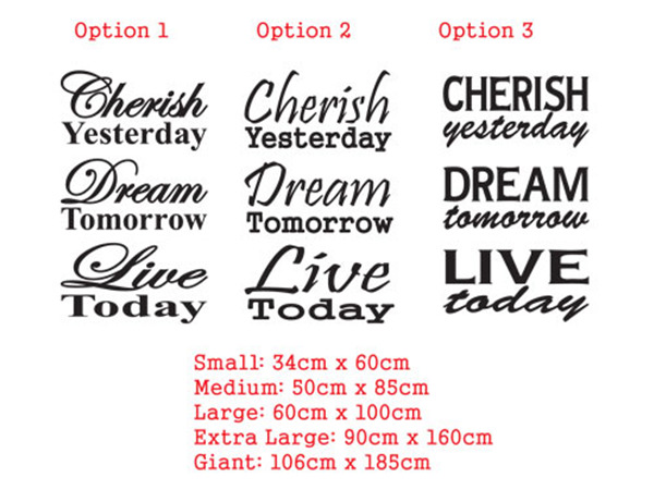 Cherish Yesterday Dream Tomorrow Live Today wall decal sticker