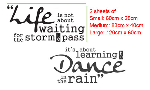 Life is not about waiting for the storm to pass, It's about learning Dance in the rain vinyl wall decal sticker