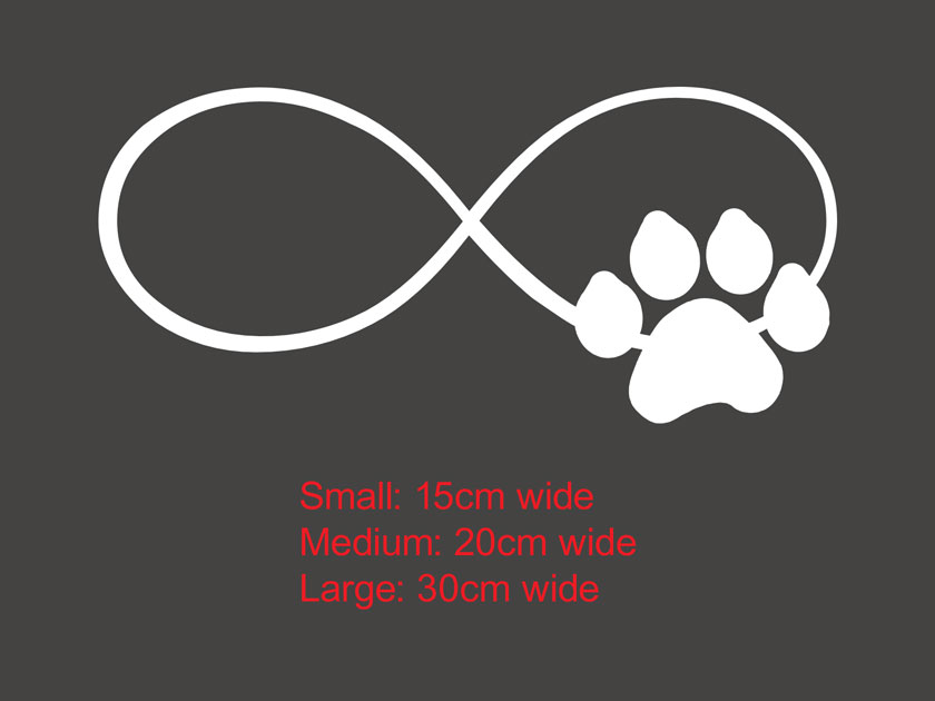Infinity Love Paw Print Sticker Decal Dog Cat Pet Car
