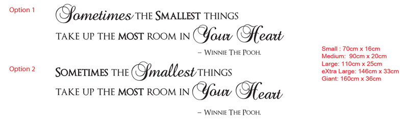 Sometimes the Smallest things take up the most room in your heart. Winnie The Pooh.
