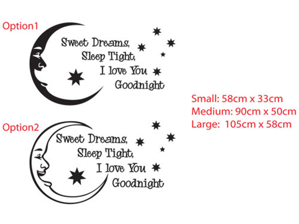 Sweet dreams, Sleep tight, I love you Good night with southern stars Wall Vinyl Decal Sticker