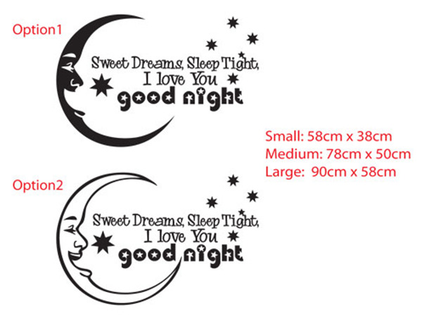 Sweet dreams, Sleep tight, I love you Good night Vinyl Wall Decal Sticker