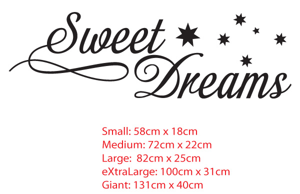 Sweet dreams with stars. Wall Art Decor Decal / Sticker for Nursery