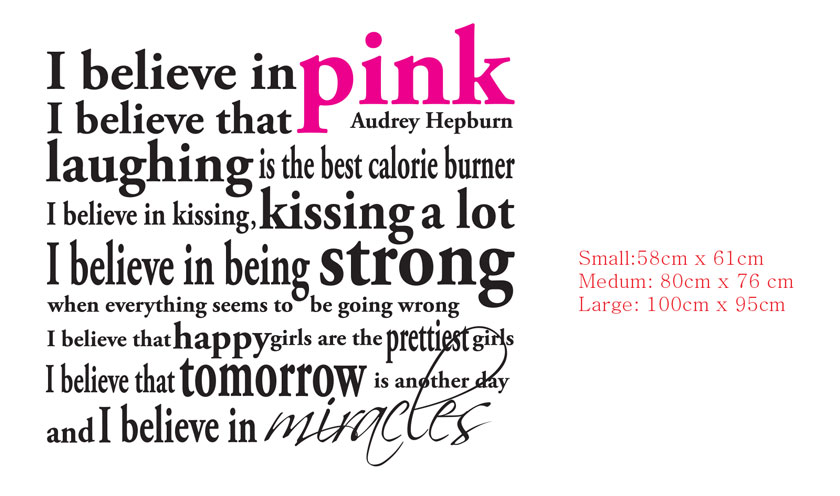 I Believe In Pink Miracles Audrey Hepburn Quote Wall Decal Vinyl Sticker