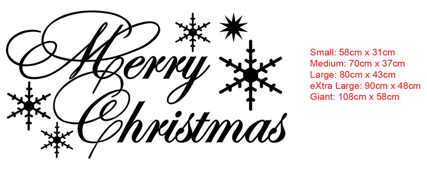 Merry Christmas XMAS Lettering Removable wall window shop Vinyl sticker decal