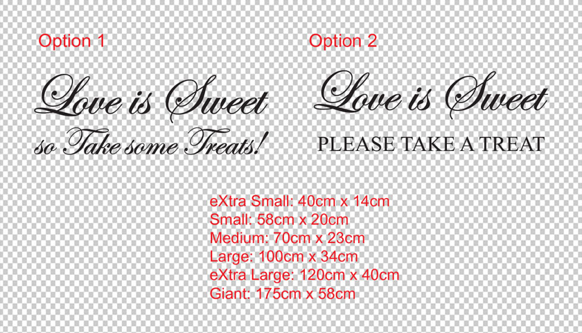 Lolly /Candybar vinyl wall decal sticker. Love is Sweet. So take some treats. (option 1) or Love is Sweet. Please take a treat.(option 2)