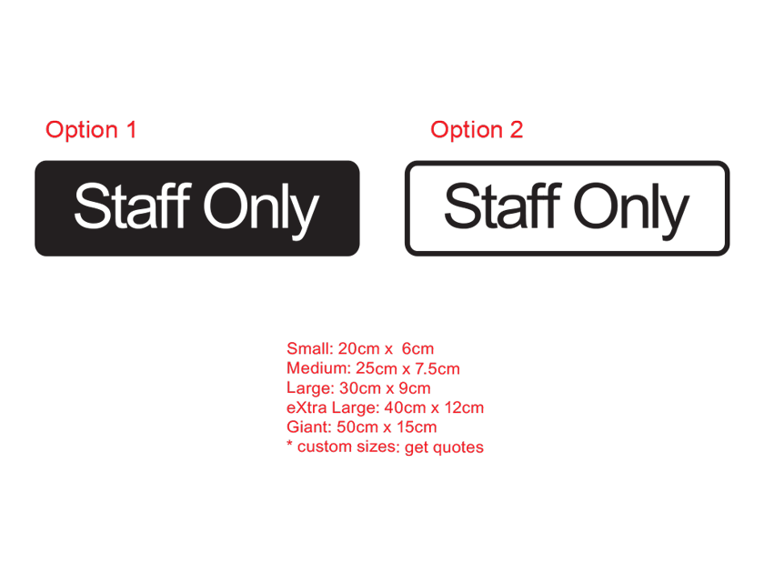Staff only office sign decal sticker removable