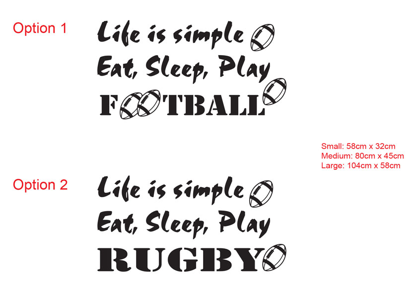 Life is simple Eat, Sleep, Play Football Soccer Wall Lettering Vinyl Decal