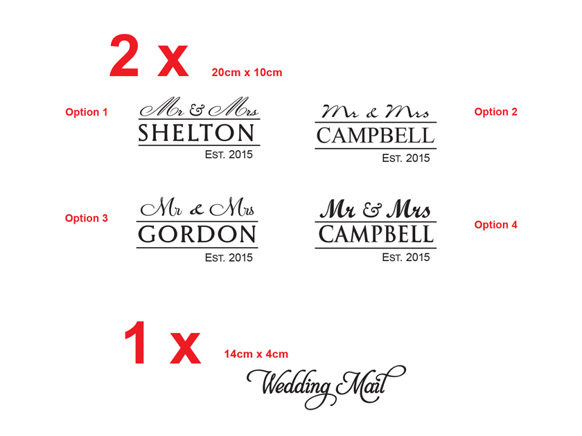 Vintage Couple Name Wedding Date Custom Personalized Vinyl Decal Wedding Gift Removable