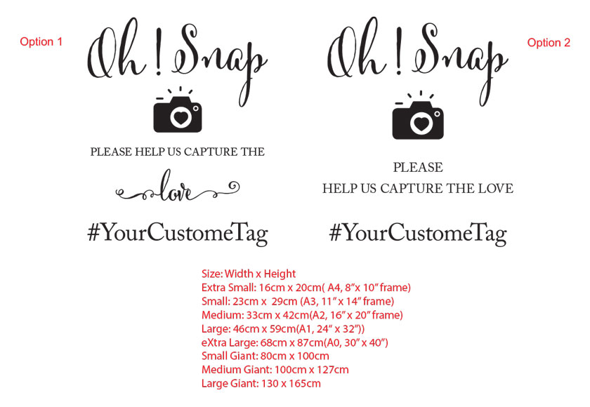 Oh Snap! Capture the love Custom Wedding Hashtag Sign Sticker Decal for Wall, Mirror, Glass, etc.