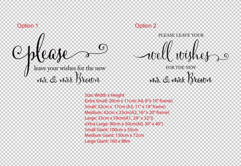 Personalised Family Name Please Leave your wishes to the New Mr. & Mrs. Wedding Sign Sticker Decal Mirror