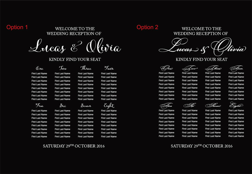 Custom Wedding Seating Chart Sticker Vinyl Decal Sign for Wall, Mirror, Glass, Window panel or any smooth surface.