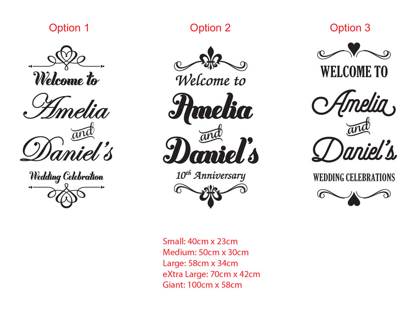 Personalized Wedding Engagement Ceremony Welcome Anniversary Sign Decal Sticker for Wall Mirror Glass, Removable