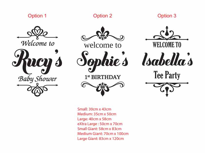 Personalized Baby Shower, Birthday Ceremony Anniversary Welcome Sign Decal Sticker for Wall Mirror Glass, Removable