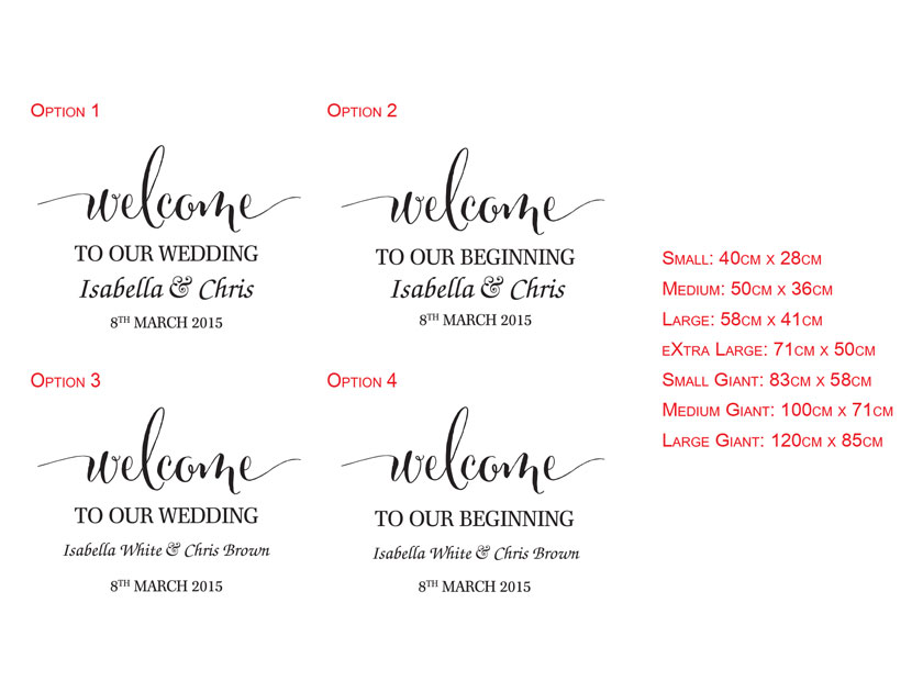 Custom Personalized Wedding Engagement Annversary Welcome Sign Decal for Wall Mirror Glass, Removable