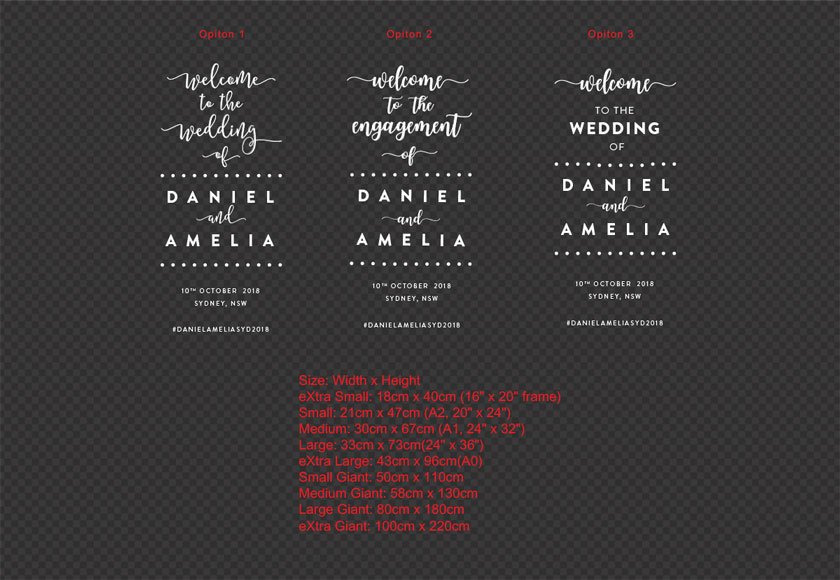Custom Wedding Engagement Anniversary Welcome Sign Sticker Decal Venue Hashtag
