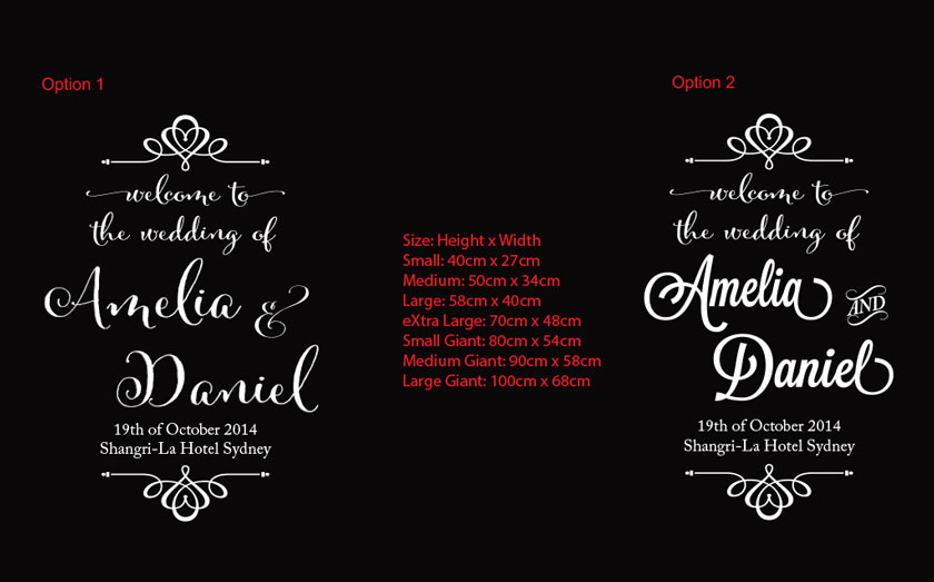 Custom Welcome to our wedding / Ceremony / Engagement...<br>Welcome Sign Decal for Wall, Mirror, Glass, white/black board etc.