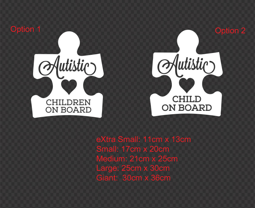 Child With Autism On Board Emergency Instructions Car Window Sign
