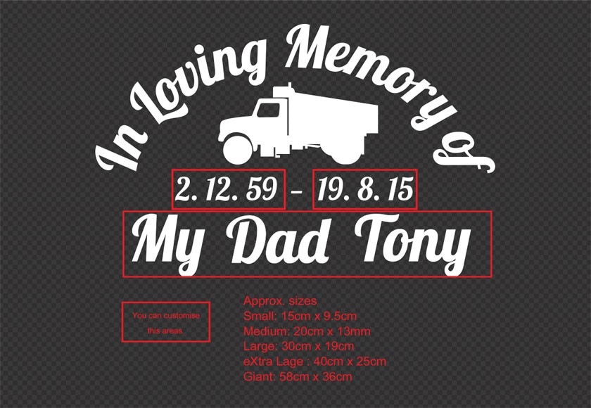 Custom name rip truck driver decal in loving memory memorial car sign vinyl decal sticker